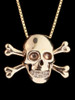 Large Skull and Crossbones Pendant in Gold