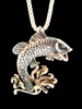 Jumping Bass Pendant Silver with 14K Gold Splash