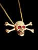Medium Skull and Crossbones Pendant w/ Ruby or Diamond Eyes - 14k Gold