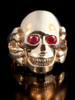 Large Skull and Crossbones Ring w/ Gemstone Eyes in 14K Gold