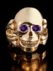 Large Skull and Crossbones Ring w/ Gemstone Eyes in 14K Gold