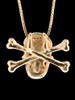 Large Skull and Crossbones Pendant w/ Gemstone Eyes in 14k Gold