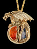 Fire and Ice Dragon Pendant 18K Gold