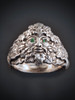 Green Man Ring with Tsavorite Eyes in Silver