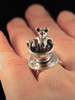 Dormouse and Teacup Ring in Silver