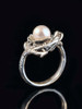 Curled Dragon Ring with Pearl - Silver
