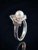 Curled Dragon Ring with Pearl in Silver