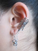Web and Chained Spider Ear Cuff Bajoran - Silver