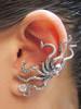 Octopus Ear Cuff in Silver