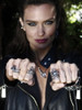 Model is wearing Spider Ring, Cobra Ring, Alpha Omega Snake Ring with Citrine, Ninja Star Ear Cuffs, Gothic Dragon Head Link Bracelet, and Python Snake Pendant