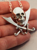 Pirate - Skull and Crossed Cutlass Pendant - Silver