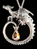 Circle Dragon with Gemstone - Silver