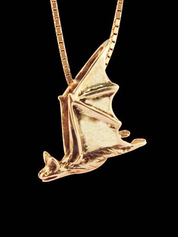 Gold Soaring Bat Charm - 14k Gold