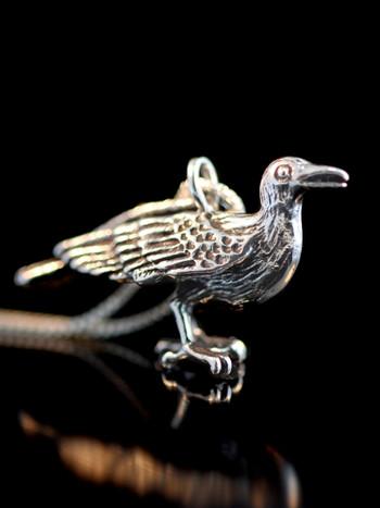 Raven Pendant - Forward Facing - Silver
