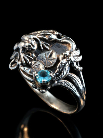 Frog Lily Pond Ring - Silver and Blue Topaz