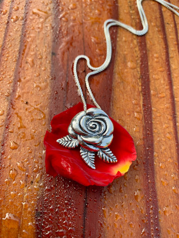 Silver Blooming Rose Pendant