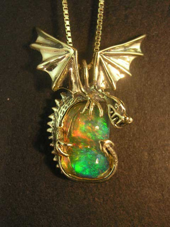 Electra - Mexican Fire Opal Dragon Pendant - SOLD