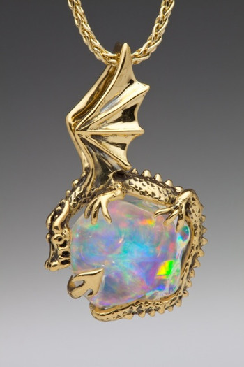 Aurora Dragon Pendant with Mexican Fire Opal_ SOLD