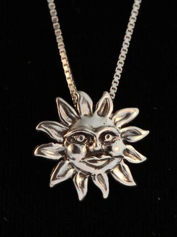Celestial - Medium Sun Charm - Silver