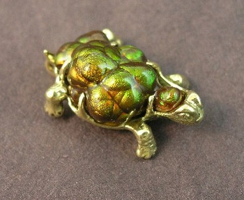 18K Gold Turtle with carved Arizona Fire Agate