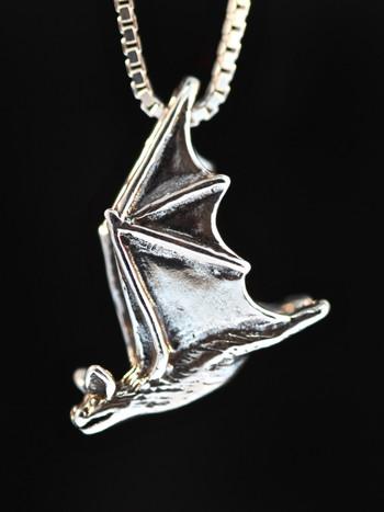 Soaring Bat Charm - Silver