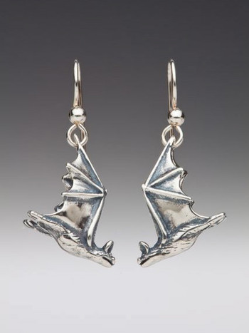 Soaring Bat Earrings - Silver
