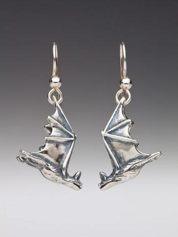 Soaring Bat Earrings - Silver