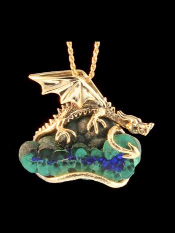 Cloud Forest Dragon Pendant - 18K Gold
