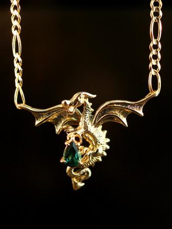 Dragon In Flight  Pendant with Tourmaline