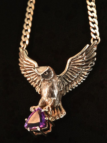 Large Owl Neckpiece with Trillion Amethyst