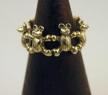 Teddy Bear Ring 14K Gold