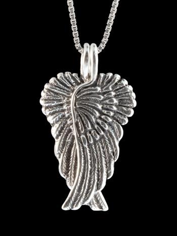 Guardian Angel Wing Pendant - Silver