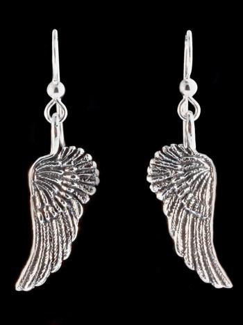 Guardian Angel Wing Earrings - Silver