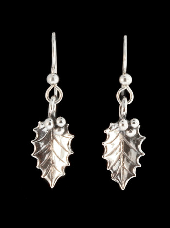 Christmas - Holly Leaf Earrings - Silver