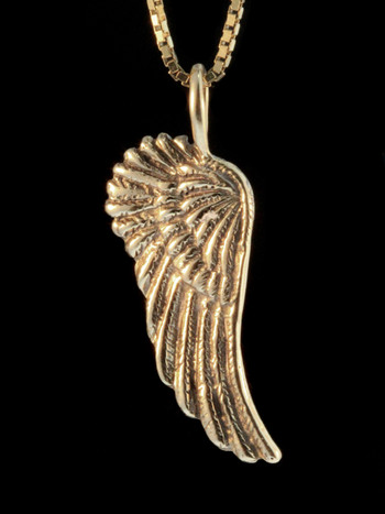 Gold Guardian Angel Wing Charm - 14k Gold