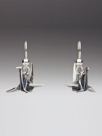 Peace Crane Earrings - Silver