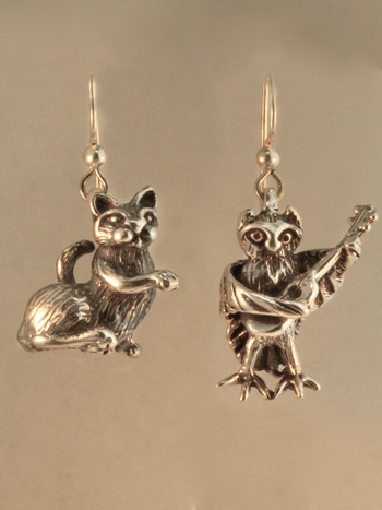 Edward Lear Poem - Owl and the P-Cat Earrings - Silver