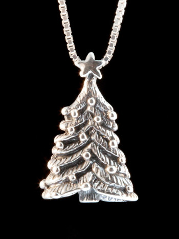 Christmas - Decorated Christmas Tree Charm - Silver