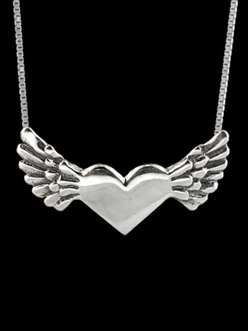 Hearts - Angel Heart Pendant - Silver