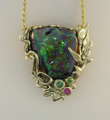 Blue Grotto - Australian Boulder Opal Pendant_SOLD