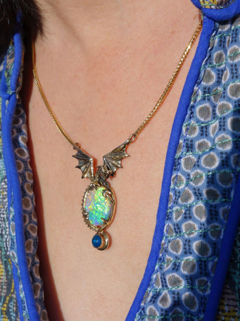 Crystal Illusion Opal Dragon Pendant_SOLD