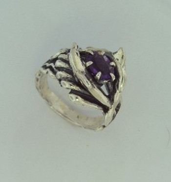 Double Dolphin Ring with Amethyst - Silver