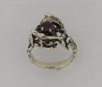 Double Dolphin Ring with Rhodolite Garnet - Silver