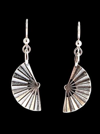 Okinawa - Japanese Fan Earrings - Silver