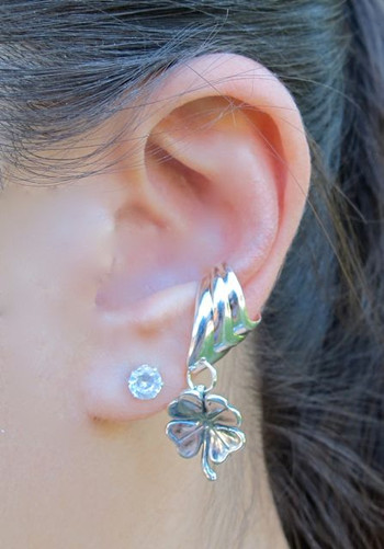Four Leaf Clover Ear Cuff Chevron - Silver