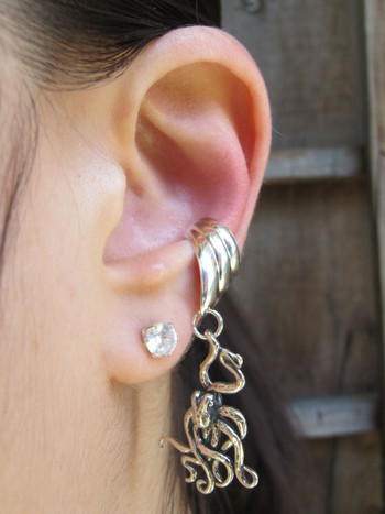 Octopus Ear Cuff Chevron - Silver