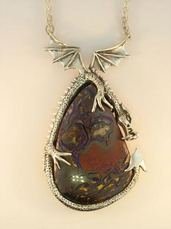 Guardian Dragon Pendant with Korite Australian Opal_SOLD