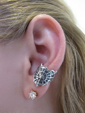 Cobweb Ear Cuff - Silver