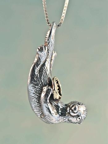 Sea Life - Silver Sea Otter Pendant with Gold Abalone