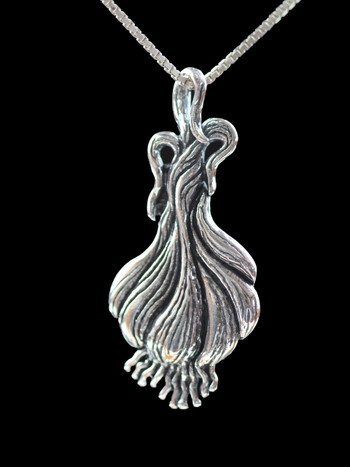 Garlic - Large Garlic Clove Pendant - Silver